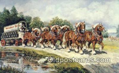 bre001252 - Meister Brau Stallion Hitch  Postcard Post Cards Old Vintage Antique