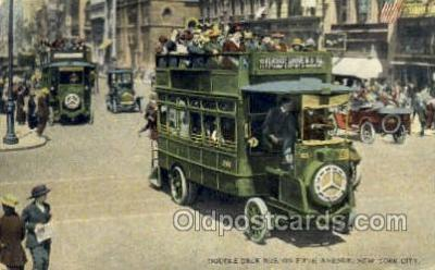 bus010090 - Double Deck Bus 5 th Avenue, New York, NY USA Bus Buses, Old Vintage Antique Post Card Postcard