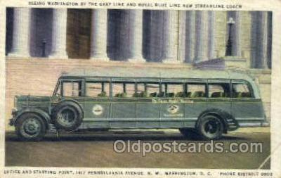 bus010092 - Royal Blue Line Streamline Coach, Washington DC, USA Bus Buses, Old Vintage Antique Post Card Postcard