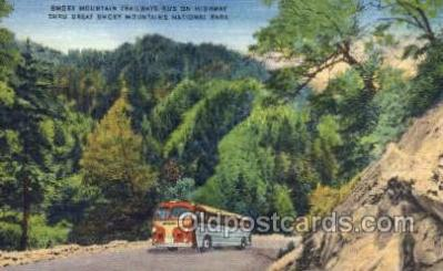 bus010095 - Smokey Mountains Bus, Smoky Mts, TN USA Bus Buses, Old Vintage Antique Post Card Postcard