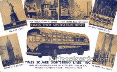 bus010096 - Glass Roof Sightseeing Buses, New York, NY USA Bus Buses, Old Vintage Antique Post Card Postcard