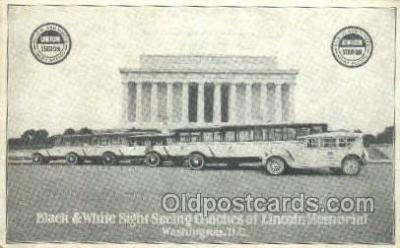 bus010118 - Black and White Sight Seeing Coaches, Washington DC USA Bus Buses, Old Vintage Antique Post Card Postcard