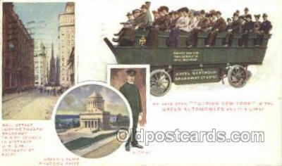 bus010146 - Green Bus, New York, NY USA Bus Buses, Old Vintage Antique Post Card Postcard