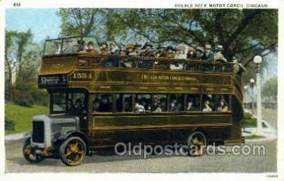 bus010155 - Double Deck Motor Coach, Chicago, IL USA Bus Buses, Old Vintage Antique Post Card Postcard