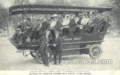 bus010168 - Seeing Paris Automobile Bus Buses, Old Vintage Antique Post Card Postcard