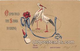 bbb001091 - Cupid, Stork  Postcard Post Card