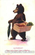 ber001054 - Bare go to the market, Wall Bear, Bears, Postcard Post Card