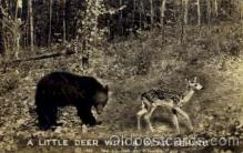 ber001161 - A Little Deer with a Bear Behind Bear Bears Postcard Post Card Old Vintage Antique