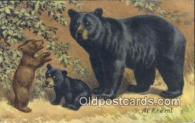 ber001360 - Artist Al Krem Bear Postcard, Bear Post Card Old Vintage Antique