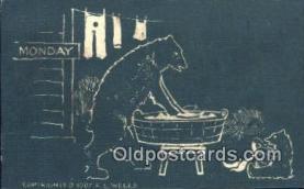 ber001525 - Monday, Artist Wells Bear Postcard Bear Post Card Old Vintage Antique