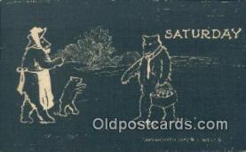ber001730 - Saturday, Bear Postcard Post Card Old Vintage Antique