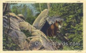 ber001748 - I cant bear to leave, Bear Postcard Post Card Old Vintage Antique