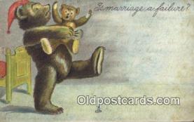 ber001832 - Is Marriage a Failure Ottoman Lithographing Bears, Co. NY, Bear Postcard Bears, tragen postkarten, sopportare cartoline, soportar tarjetas postales, suportar cartões postais