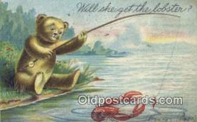 ber001837 - Will She Get Me A Lobster Ottoman Lithographing Bears, Co. NY, Bear Postcard Bears, tragen postkarten, sopportare cartoline, soportar tarjetas postales, suportar cartões postais