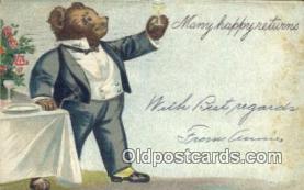ber001838 - Many Happy Returns Ottoman Lithographing Bears, Co. NY, Bear Postcard Bears, tragen postkarten, sopportare cartoline, soportar tarjetas postales, suportar cartões postais