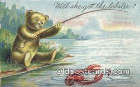 ber001840 - Will She Get Me A Lobster Ottoman Lithographing Bears, Co. NY, Bear Postcard Bears, tragen postkarten, sopportare cartoline, soportar tarjetas postales, suportar cartões postais