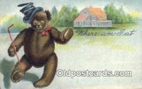 ber001842 - Where Am I At Ottoman Lithographing Bears, Co. NY, Bear Postcard Bears, tragen postkarten, sopportare cartoline, soportar tarjetas postales, suportar cartões postais