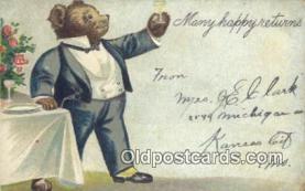 ber001846 - Many Happy Returns Ottoman Lithographing Bears, Co. NY, Bear Postcard Bears, tragen postkarten, sopportare cartoline, soportar tarjetas postales, suportar cartões postais