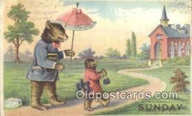 ber001855 - Sunday William Heal, Heal Days of the Week, Bear Postcard Bears, tragen postkarten, sopportare cartoline, soportar tarjetas postales, suportar cartões postais