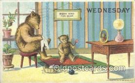 ber001856 - Wednesday William Heal, Heal Days of the Week, Bear Postcard Bears, tragen postkarten, sopportare cartoline, soportar tarjetas postales, suportar cartões postais