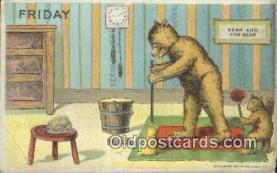 ber001857 - Friday William Heal, Heal Days of the Week, Bear Postcard Bears, tragen postkarten, sopportare cartoline, soportar tarjetas postales, suportar cartões postais