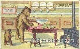 ber001858 - Thursday William Heal, Heal Days of the Week, Bear Postcard Bears, tragen postkarten, sopportare cartoline, soportar tarjetas postales, suportar cartões postais
