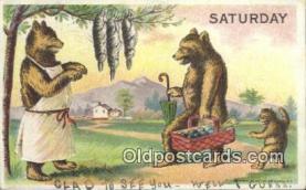 ber001859 - Saturday William Heal, Heal Days of the Week, Bear Postcard Bears, tragen postkarten, sopportare cartoline, soportar tarjetas postales, suportar cartões postais