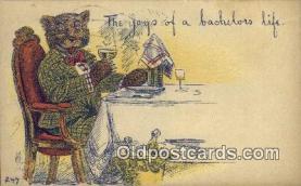 ber001873 - Joys of a Bachlors Life Wells Bears, Bear Postcard Bears, tragen postkarten, sopportare cartoline, soportar tarjetas postales, suportar cartões postais