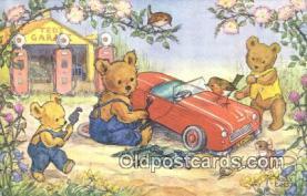 ber001915 - Teddy Garage Artist Molly Brett, Bear Postcard Bears, tragen postkarten, sopportare cartoline, soportar tarjetas postales, suportar cartões postais