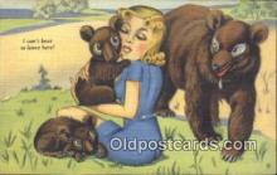 ber002012 - I cant bear to leave here, Bear Postcard Bears, tragen postkarten, sopportare cartoline, soportar tarjetas postales, suportar cartões postais