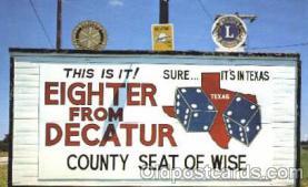bil001002 - Texas, Rotery, Lions, Billboard Road Sign, Postcard Post Card