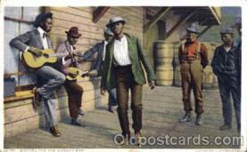 bla001135 - Waiting for Sunday Boat Black Blacks Postcard Post Card