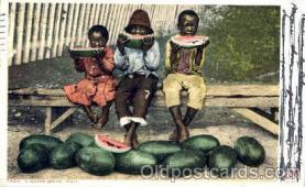 bla001140 - Watermellon Feast Black Blacks Postcard Post Card