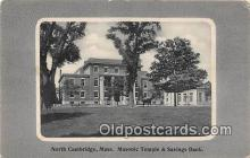bnk001392 - Masonic Temple & Savings Bank North Cambridge, Mass, USA Postcard Post Card