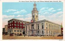bnk001408 - Huron County Court House & Citizens National Bank Norwalk, Ohio, USA Postcard Post Card
