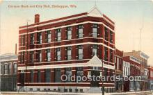 bnk001505 - German Bank & City Hall Sheboygan, Wis, USA Postcard Post Card