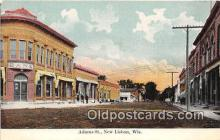 bnk001528 - Adams Street New Bisbon, Wisconsin, USA Postcard Post Card
