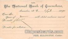 bnk001601 - National Bank of Greensboro Greensboro, NC, USA Postcard Post Card
