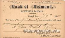 bnk001639 - Bank of Belmond Postal Used 1875 Postcard Post Card