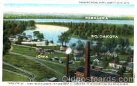 bot001009 - Iowa, Nebraska, and South Dakota borders Border Town Towns Postcard Post Card