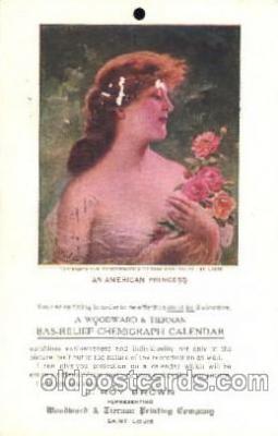 cal001001 - An American Princess, Woodward & Tiernan Printing Company, Saint Louis, Mo. USA, Calendar Postcard Post Card