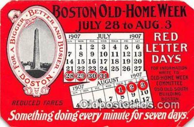 Boston Old Home Week July 28-Aug 3