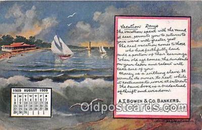 cal001032 - Calander Vintage Postcard