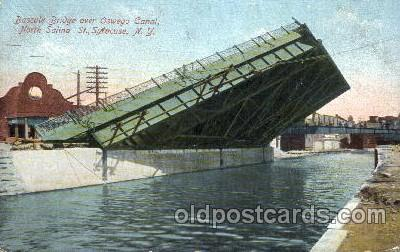 can001004 - Bascule Bridge Over Oswego Canal, North Salina, St. Syracuse, NY, USA Canal, Canals, Postcard Post Card
