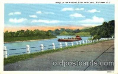 can001009 - Barge on the Mohawk River & Canal, Herkimer, NY USA Canal, Canals, Postcard Post Card