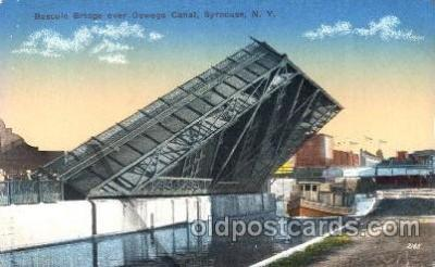 can001013 - Bascule Bridge over Oswego Canal, Syracuse New York, NY USA Canal, Canals, Postcard Post Card