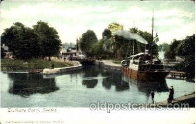 can100008 - Trollhattan Canal Sweden,  Slussarne Canal, Canals, Postcard Post Card