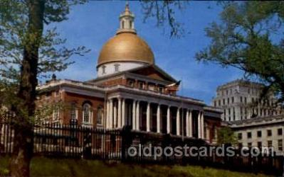 cap001180 - Boston, Mass, Massachusetts, USA United States State Capital Building Postcard Post Card