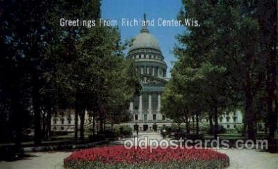 cap001187 - Richland Center, Wis, Wisconsin, USA United States State Capital Building Postcard Post Card