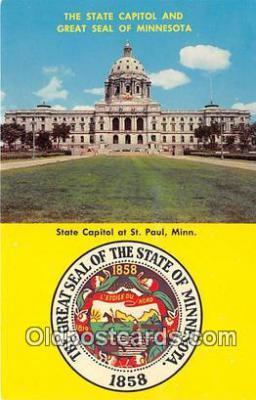 cap002317 - State Capitol & Great Seal of Minnesota St Paul, Minn, USA Postcard Post Card